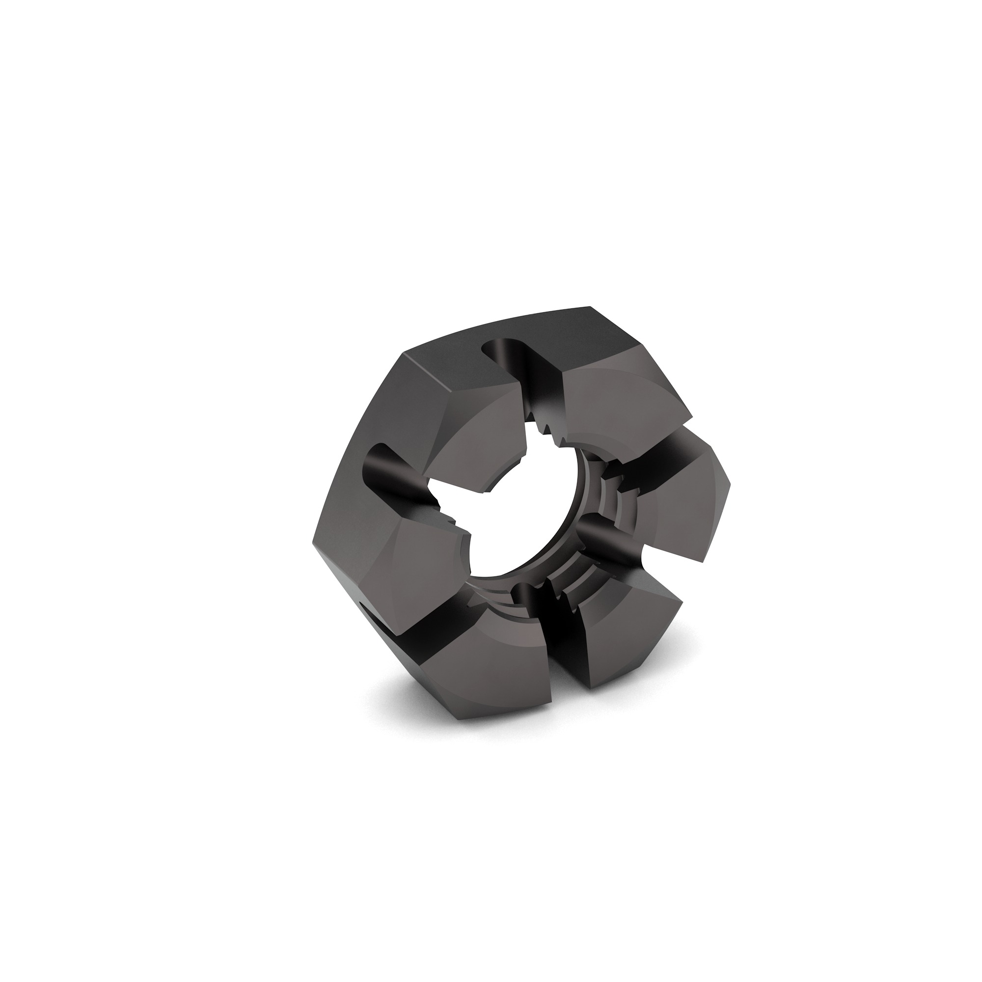 1/2-13 Carbon Steel Slotted Hex Jam Nut Plain Finish